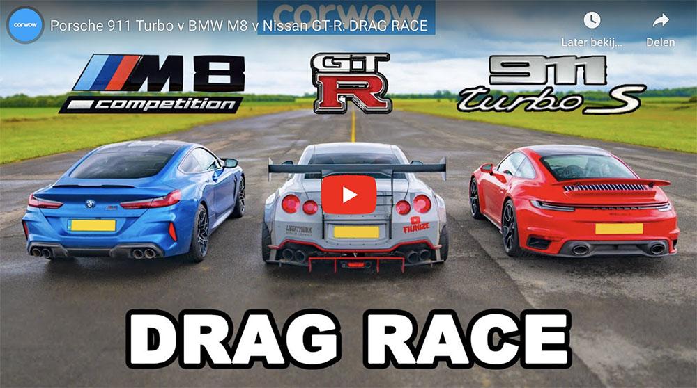Filmpje: Porsche 992 Turbo neemt het op tegen BMW M8 en Nissan GT-R
