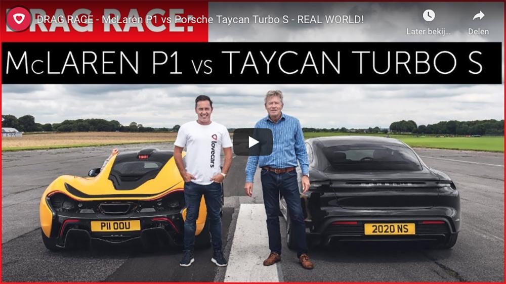 Filmpje: Porsche Taycan Turbo S tegen McLaren P1
