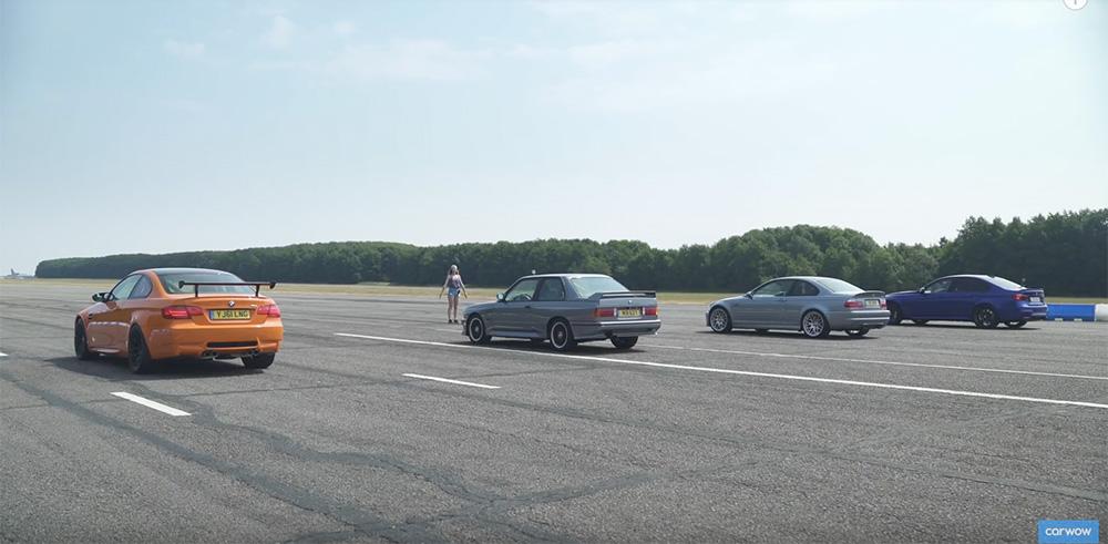 Filmpje: BMW M3's van alle generaties nemen het tegen elkaar op