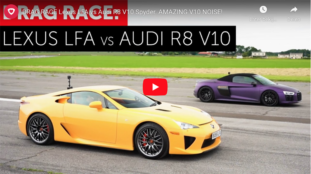 Filmpje: Lexus LFA tegen Audi R8 V10 Spyder