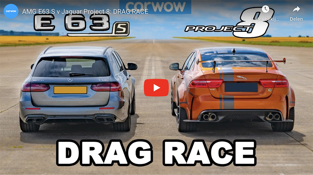 Movie: Mercedes-AMG E 63 S against the Jaguar XE SV Project 8