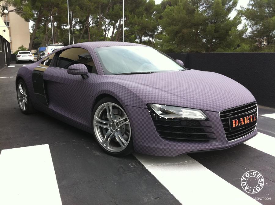 Dartz Maakt Wrappen Weer Leuk Audi R8 Met Paars Schaakbord