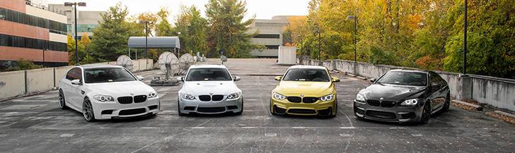 Photoshoot mit vier BMW M-Modellen