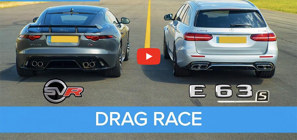 Filmpje: drag race Jaguar F-TYPE SVR tegen Mercedes-AMG E 63 S Estate