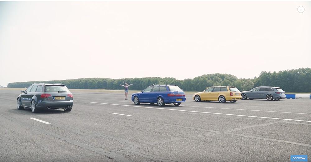 Filmpje: vier generaties Audi RS4 nemen het tegen elkaar op
