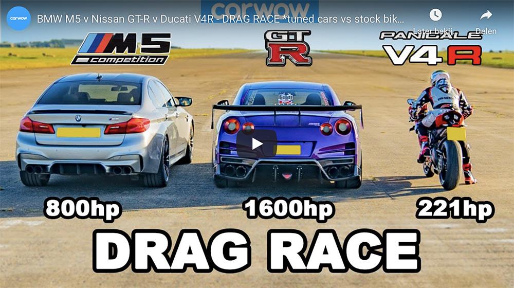 Filmpje: BMW M5, Nissan GT-R en de Ducati V4R in een dragrace