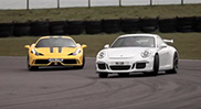Chris Harris floors the pedal of the 458 Speciale and GT3