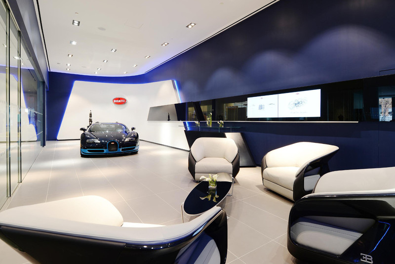 bugatti shows new showroom design for chiron customers. Black Bedroom Furniture Sets. Home Design Ideas