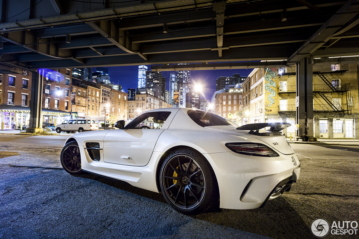 Mercedes benz sls amg black series in new york city at night for Mercedes benz nyc