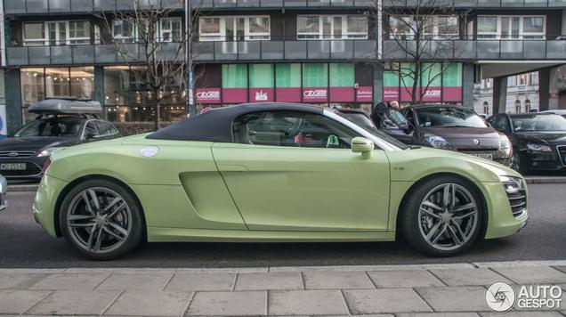 Zachtgroene Audi R8 Spyder is erg smaakgevoelig