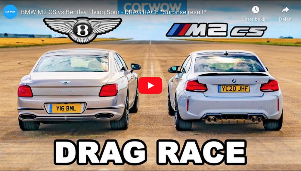 Ongewone dragrace: BMW M2 CS vs Bentley Flying Spur