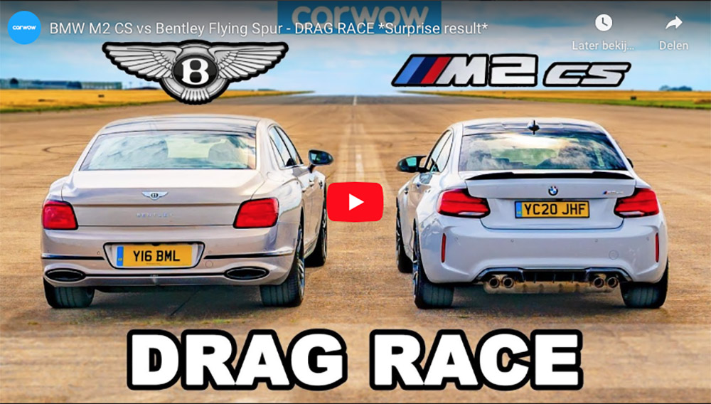 Ongewone dragrace: BMW M2 CS vs Bentley Flying Spur