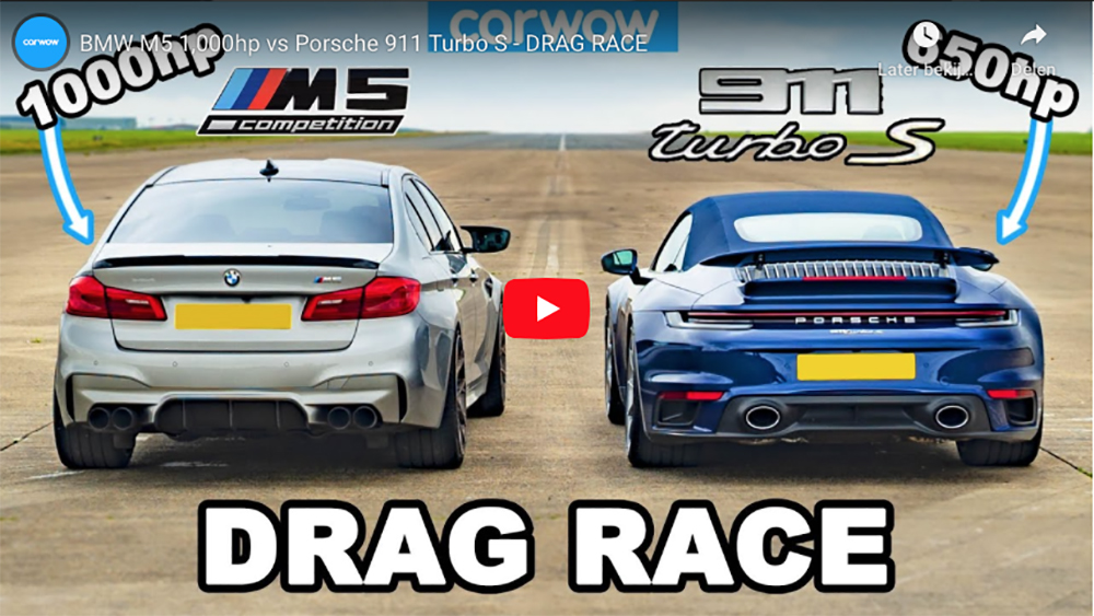 Porsche 992 Turbo S battles against BMW M5 with 1.000 hp