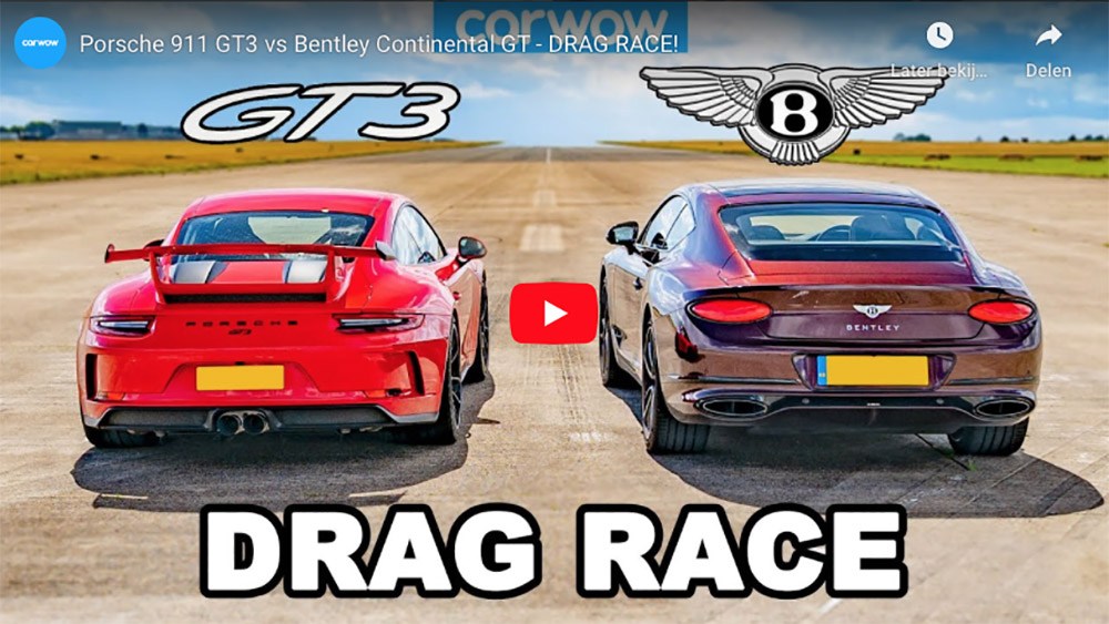 Filmpje: Porsche 911 GT3 vs Bentley Continental GT