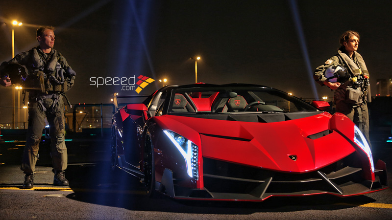 Lamborghini Veneno Roadster Presented On Aircraft Carrier