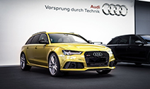 Audi RS6 Avant in de kleur Austin Yellow is hot